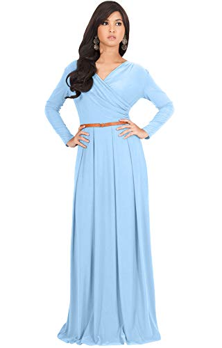 Gown Sleeve Jersey (KOH KOH Womens Long V-Neck Sleeve Sleeves Fall Formal Flowy Floor Length Evening Casual Day Modest Abaya Muslim Gown Gowns Maxi Dress Dresses, Powder Light Blue L 12-14)
