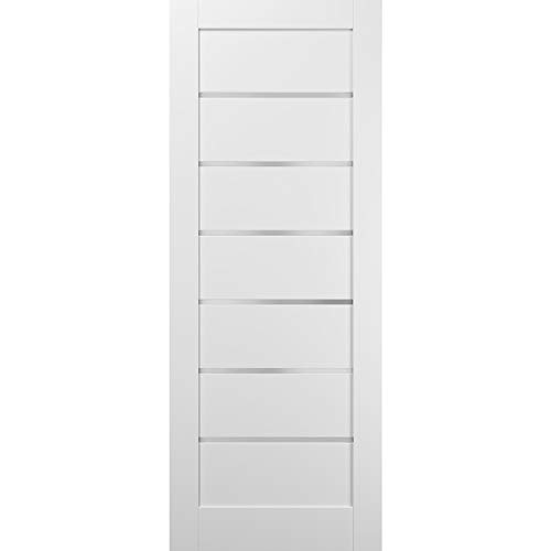 Slab Barn Door Panel | Quadro 4117 White Silk with Frosted Opaque Glass | Sample of Color