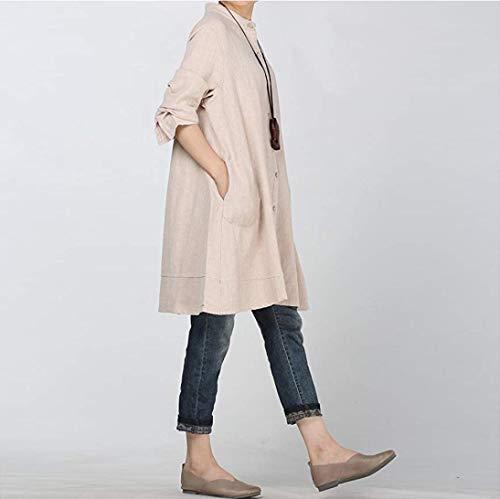 Manches Bringbring Couleur Chemisier Unie Femme Vrac Haut Chic en Robe Tops Beige Blouse Longue Ifqg6xw