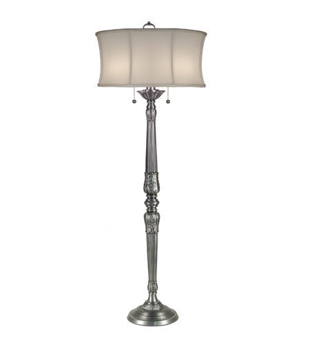 Stiffel FL-6720-6719-PW One Light Floor Lamp, Pewter Finish with Off White Camelot Shade