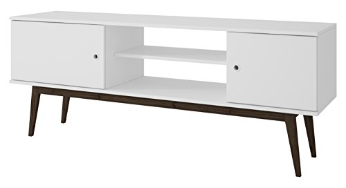 Collection 50' Tv Stand (Manhattan Comfort Salem TV Stand Collection Free Standing Flat Screen TV Stand with Storage Entertainment Center with Wooden Splayed Legs, White)