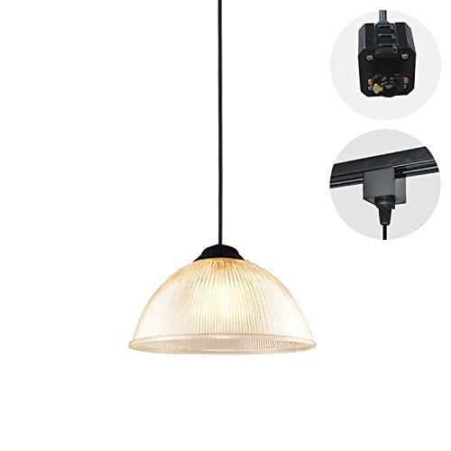 STGLIGHTING 1-Light H-Type Track Light Pendants 3.2 Feet Cord Crystal Glass Shade Antique Iron Base Chandelier Decorative Pendant Light Bulb Not Included