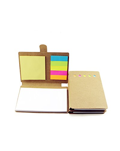 - BcPowr Pack of 3 Multi-function Sticky Notes Flag Set Kraft Paper Notebook With Index Tabs Page Flags Neon Color Notepad. (No Pen)