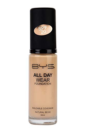 BYS All Day Wear Liquid Foundation Natural Beige - flawless base lasts all day no cake or flake buildable coverage Argan Oil antioxidant Vitamin E Peptides Vitamin C Hyaluronic Acid (Best Foundation For All Day Wear)