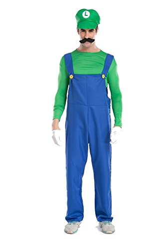 Luigi Tween Girl Costumes - Dawafa Men's Super Mario Brothers Deluxe Luigi Costume Green