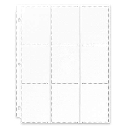 Totem World 25 Side Load 9-Pocket Pages for Pokemon, Magic, YuGiOh Card Holder - Fits 3 Ring Binder (Clear)