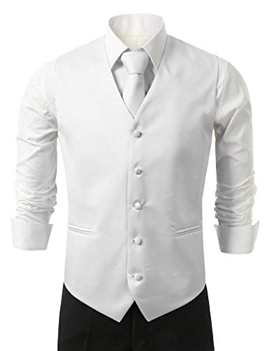 Bianca Da Vest color con Hanky Elegante Fit E Giovane Uomo 5xl Slim Tie Loop Collo V 5 Knoepproof Size Suit Gilet Smoking UHncqXBdwd