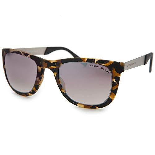 (TechnoMarine Black Reef Wayfarer Mirrored Lens Classic Unisex Designer Sunglasses Made in Italy (Brown/Tortoise))