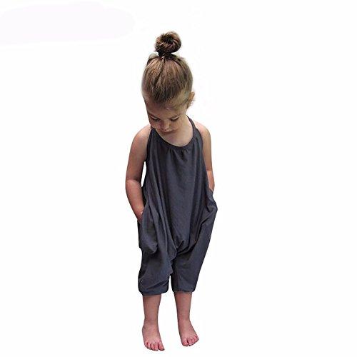 Darkyazi Baby Girls Cute Grey Summer Jumpsuits for Kids Backless Harem Strap Romper Jumpsuit Toddler Pants Size 2-8Y (3T, (1 Travel Pants)