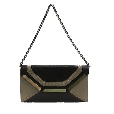 sondra-roberts-leather-suede-chain-handle-brown-beige-clutch