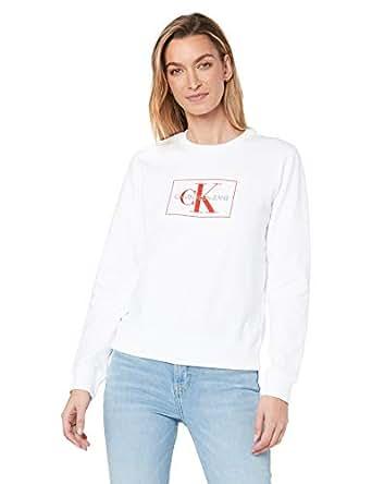 Calvin Klein Jeans Women's Monogram Outline Box Sweatshirt, Bright White/Racing Red, S