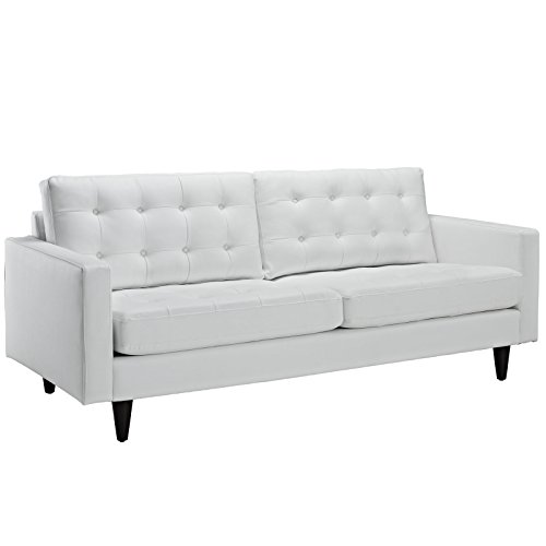 Superieur Modway Empress Mid Century Modern Upholstered Leather Sofa In White