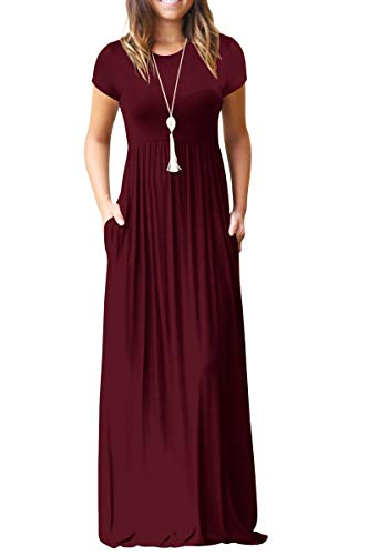 GRECERELLE Women's Short Sleeve Loose Plain Maxi Dresses Casual Long Dresses with Pockets Wine Red XL ()