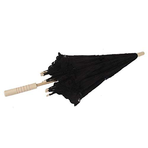 ULTNICE Bridal Wedding Umbrella Handmade Embroidery Parasol Umbrella Wedding Party Photo Props (Black)