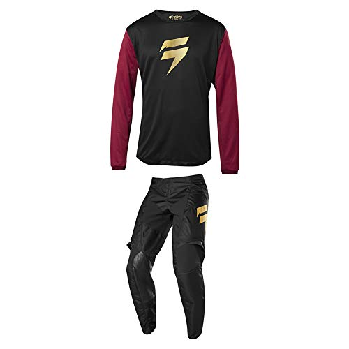 (Shift Racing 2019 Whit3 Muerte Jersey and Pants Combo Black/Red/Gold Large/36)