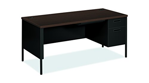 HON HP3265R.MOCH.P Metro Classic Black Finish Laminate Right Pedestal Desk with 1 Box/1 File Drawers, 66