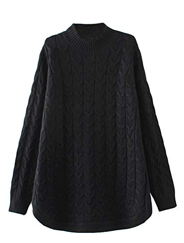 Minibee Women's Long Sleeve Sweater Mock Turtleneck Pullover Tops Ribbed Cable Knit Jumper Black M