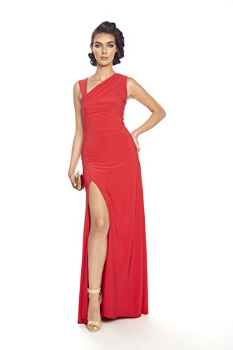 Posh Couture Women's Soft Jersey Evening Dress Slit Upfront 6 Red (Couture Jersey Gown)