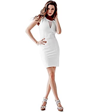 GUESS SLEEVELESS MESH-INSET SHEATH DRESS TRUE WHITE