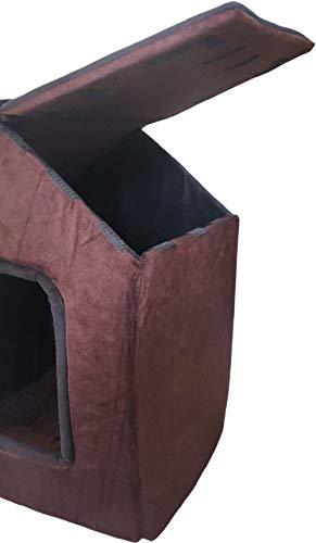 Dogerman Foldable Velvet Fabric Dual Brown Black Color House/Hut for Dogs & Cats (Medium, Brown-Black)