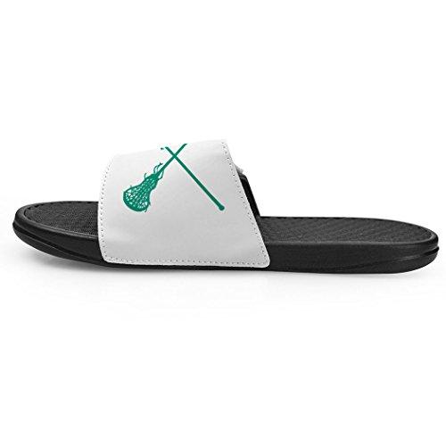 Chalktalksports Witte Meisjes Lacrosse Slide Sandalen - Gekruist Stokken Groen