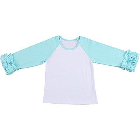 Toddler/Little Girls' Long-Sleeve Icing Ruffle T-Shirt Raglan Shirts 12M-8Y Cotton Top School Tee Cuff Undershirt Turquoise - Turquoise Girls Shirt