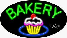 Bakery Oval Neon Sign - 17 x 30 x 3 inches - Made in USA