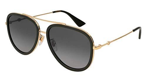 Gucci GG 0062S 011 Black Gold Metal Aviator Sunglasses Grey Gradient Polarized ()