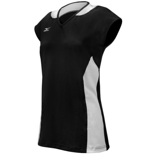 Mizuno Women's Classic Mystic Cap Sleeve Jersey, Black/White, XX-Small ()