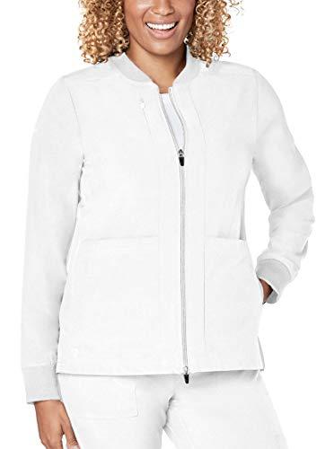 Adar Addition Scrubs for Women- Classic Bomber Scrub Jacket - A5200 - Fresh White - XL