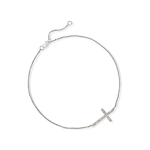 Ross-Simons 14kt White Gold Sideways Cross Anklet With Diamond Accents ()