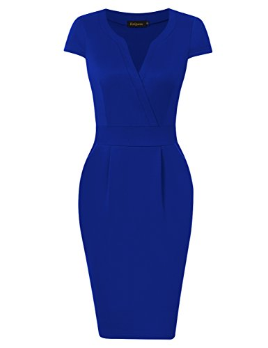 60s Sheath Dress - HiQueen Work Dresses for Women Elegant Short Sleeve V Neck Sheath Dress Blue XL