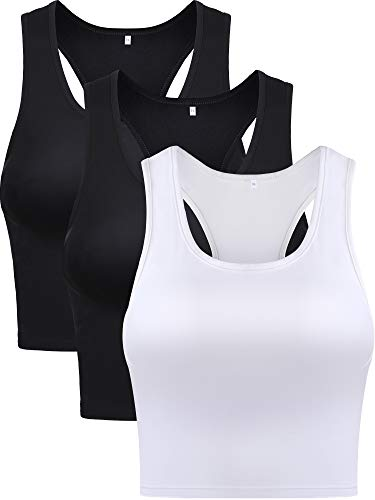 Boao 3 Pieces Women's Sports Crop Top Cotton Basic Sleeveless Racerback Crop Girl's Tank Top for Everyday Wearing (Black and White, ()