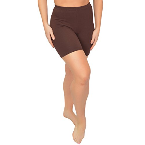 (Stretch is Comfort Women's Cotton Stretch Workout Biker Shorts X Large Brown)