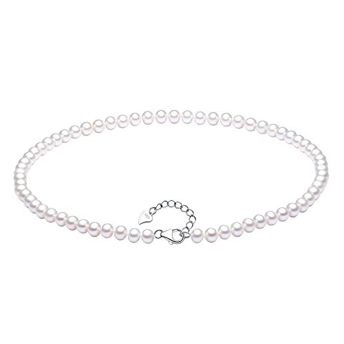 High Fashion Necklace Gift Box - Sterling Silver Oval White 5.5-6 mm Freshwater Cultured Pearl Necklace Strand