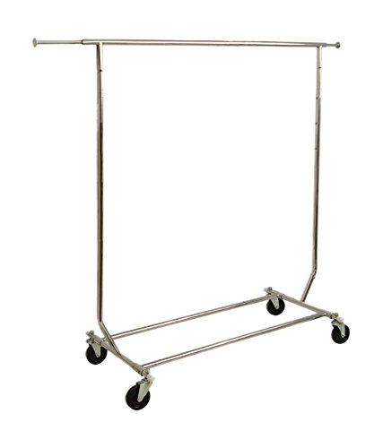 AMKO RCS/1-CH Collapsible Rolling Rack – Heavy Duty Chrome Floor Standing Fixture, Display Racks for Commercial, Household Uses. Retail Store Fixtures and Equipment