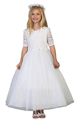 Big Girls' White First Communion Lace Tulle Half Sleeves Flower Girl Pageant Dress USA 3854 Size -