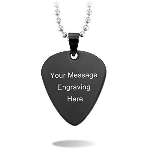 (MeMeDIY Black Stainless Steel Pendant Necklace Guitar Pick Heart,Come with Chain - Customized Engraving)