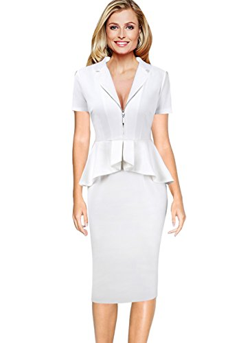 - VFSHOW Women Elegant Zipper Front Ruffle Peplum Work Business Sheath Dress 850 WHT XS