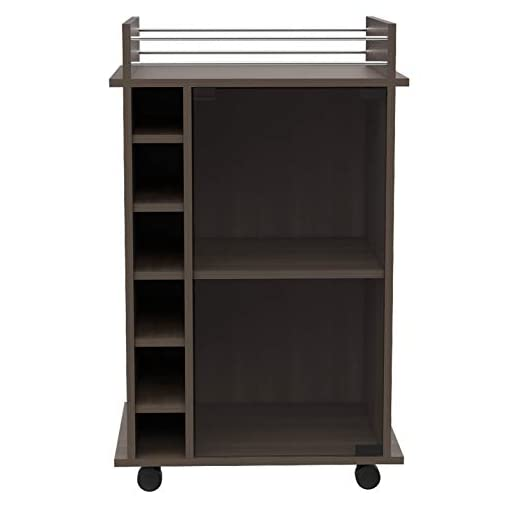 Home Bar Cabinetry TUHOME Dukat Bar Storage Display Cabinet Cart with Wheels for Wine and Liquor with Glass Door, 2 Shelves, and 6 Cubbies… home bar cabinetry