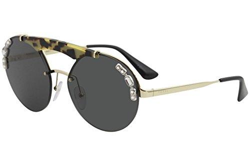 Prada SPR52U SPR/52U 18N/5S0 Pale Gold/Havana/Gemstones Pilot Sunglasses 37mm (Stone Prada)