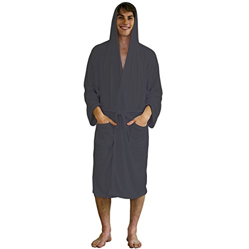 Mens Robe – Hooded Terry Cloth Bath Robe, Lightweight Cotton Shower Long Bathrobe for Travel or Spa (XXL - Grey) Tall Terry Cloth Robes