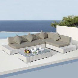 Eminza-Juego de muebles de jardín de Maldivas, color blanco, 5 plazas: Amazon.es: Hogar