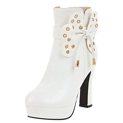 Bow Carolbar White Platform Fashion Dress Women's Boots BqfqwC4t