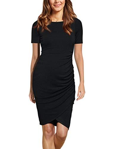fd96e5f38eb88 Coolmee Womens Maternity Dresses Casual Ruched Short Sleeve Irregular  Bodycon Mini Dress for Women L Black