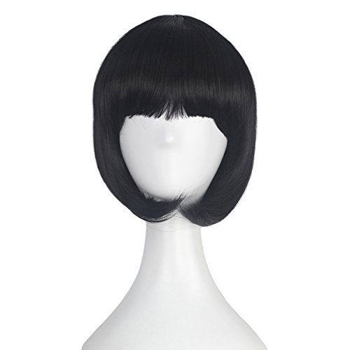 Girl's Short Straight Bob Style Hair Harajuku Lolita Punk Wig Anime Cosplay Costume Wig Party Halloween (Jet black) ()