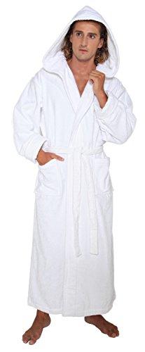 - Arus Men's Hood'n Full Ankle Length Hooded Turkish Cotton Bathrobe M White