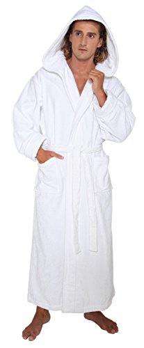 [Arus Men's Hood'n Full Ankle Length Hooded Turkish Cotton Bathrobe XXL White] (Tall Terry Cloth Robes)