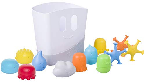 Ubbi Baby Bath Time Essential Gift Set, Includes Drying Bin and 11 Bath Toys, Dishwasher Safe, White