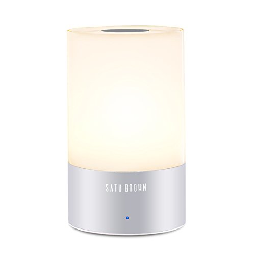 Touch Sensor Beside Lamp, SATU BROWN Smart LED Table Lamp Night Light Desk Lamps Portable Atmosphere Lighting, Dimmable Warm White Lights and Color Changing RGB